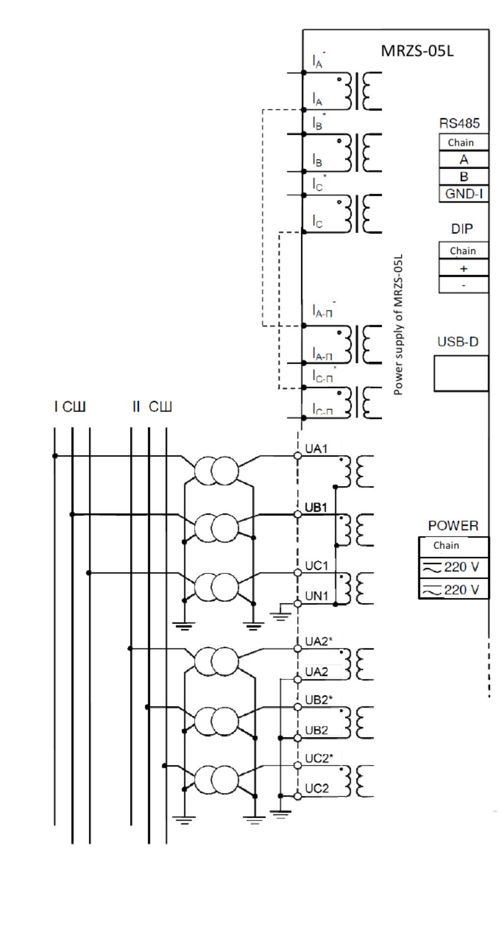 схема підключення MРЗС-05Л AIAР.466452.001-12.2(-32.2) str.1